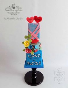 Love Completes the Puzzle @Sugar Art 4 Autsim by Sweet Side of Cakes by Khamphet  - http://cakesdecor.com/cakes/276475-love-completes-the-puzzle-sugar-art-4-autsim