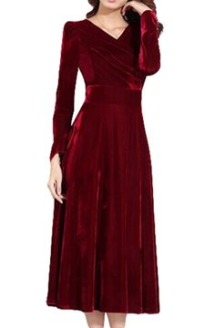 LIMATRY Women's Fashion Noble Gold Velvet Long-sleeved Dress (10, wine red)