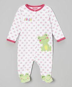 Look what I found on #zulily! White & Pink Cutie Footie - Infant #zulilyfinds