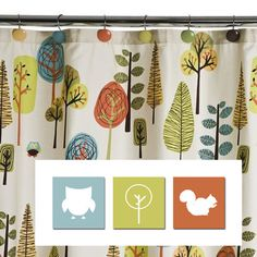 Woodland Nursery Decor, Animal Silhouettes - I want this fabric pattern as either curtain or quilt! Love the color combination Twin Baby Girls, Baby Boy Rooms, Baby Boy Nurseries, Nursery Curtains, Tree Curtains, Nursery Fabric, Woodland Nursery Decor, Woodland Baby, Woodsy Bedroom