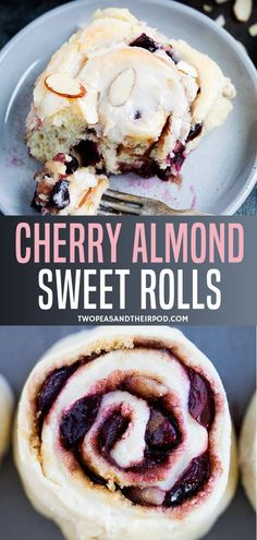 Cherry Almond Sweet Rolls Cherry Almond Sweet Rolls-soft and tender sweet rolls filled with tart cherries, almond paste, cinnamon, sugar, and finished with a sweet almond glaze and sliced almonds. These sweet rolls are a real breakfast treat! Brunch Recipes, Sweet Recipes, Snack Recipes, Dessert Recipes, Brunch Foods, Nutella Recipes, Brunch Ideas, Breakfast Recipes, Cherry Desserts