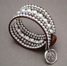 Southern Girls Wear Pearls - Pearl & Leather Wrap Cuff Bracelet - product image - note the mix of wide and narrow beads Leather Cuffs, Leather Jewelry, Beaded Jewelry, Beaded Bracelets, Pandora Bracelets, Crochet Bracelet, Wrap Bracelets, Boho Jewelry, Jewelry Accessories