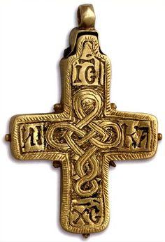 EGKOLPIOS CROSS   Stone, engraved gold ,     12th century.
