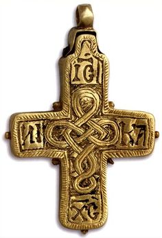 EGKOLPIOS CROSS   Stone, engraved gold ,               12th century.