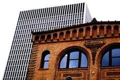 Gilbert Building - Semi Circle Glass Windows against Rich Brick Portland Architecture, Architecture Building Design, Downtown Portland, Brick Building, Brooklyn Bridge, Louvre, Windows, Glass, Travel