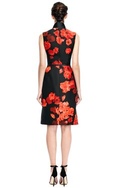 c961779df118 Giambattista Valli Wool blend Floral Printed Dress in Orange (Black Orange)    Lyst