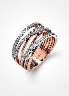 If you have a more contemporary style, this twisted two-tone ring will be a staple in your jewelry wardrobe. Simon G. Rose Gold Right-Hand Ring