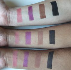 The MAC x Selena collection eye shadow swatches on different skin tones.