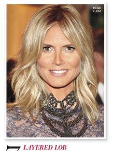 Love this layered lob on Heidi Klum