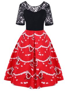 9367779c1aa5 Black/red Fall and Spring No Floral Lace Short Round Knee-Length Swing  A-Line Holiday Vintage Christmas Lace Yoke 50s Swing Dress