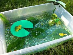 Frog Sensory Bin - fill the tub with water beads and add lili pads and frogs