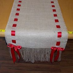 14 x 108 Burlap Runner with Red Ribbon by cherrycheckers on Etsy Mais Burlap Projects, Burlap Crafts, Diy And Crafts, Sewing Projects, Holiday Crafts, Christmas Crafts, Christmas Decorations, Christmas Ornaments, Christmas Runner
