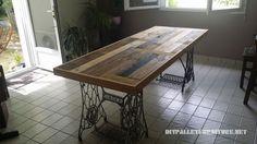 Mueblesdepalets.net: Mesa hecha con palets y 2 máquinas de coser