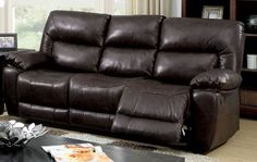 Furniture of America Stallion Collection Top Grain Leather Reclining Sofa