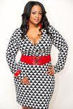 Plus size  geometric print dress  machine wash  fits true to size  model wearing 1x