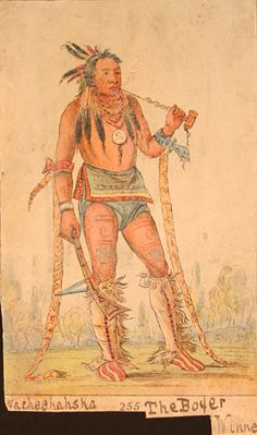 Winnebago Native American Indian Indigenous Tribal Tattoo  Artist: George Catlin
