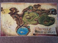 My completed cross stitch of the Legend of Zelda Ocarina of Time Map Ocarina Of Time Map, Ocarina Of Times, Cross Stitching, Cross Stitch Embroidery, Cross Stitch Designs, Cross Stitch Patterns, Fantasy World Map, Crafty Fox, String Art