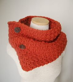 The buttons, color, style. Love.    Cowl Neckwarmer Scarf in Pumpkin Orange by MegansMenagerie