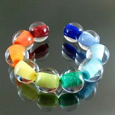 PIKALDA=handmade lampwork 10 glass beads colorful=RAINBOW SET=SRA #Pikalda #Lampwork