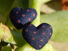 Heart shaped Navy blue with hot pink polka dot by TheSnowglobeRing, $5.89