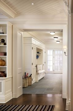 Family Room Looking Through to Mudroom - A Summer Cottage in the Hamptons - John B. Murray Architect - Interior Design by Victoria Hagan - Photography by Durston Saylor