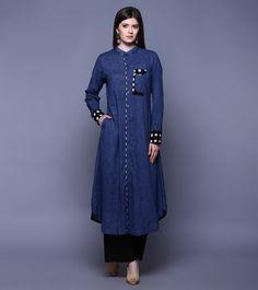 Blue & Black Cotton Ikat Tunic With Pants