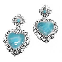 Sterling Silver Larimar Earrings available at http://jewelryandmore.us/