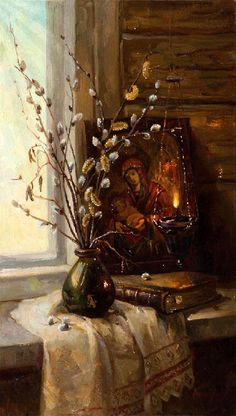 "Photo from album ""вербное воскресенье"" on Yandex. Russian Painting, Russian Art, Religious Images, Religious Art, Ukrainian Art, Cottage Art, Beautiful Gif, Light Of Life, Still Life Art"