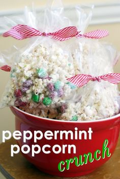 Peppermint popcorn crunch.  Like my mom's Christmas mix, but with popcorn and peppermint bark instead of almond bark.