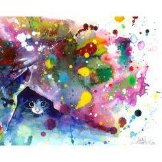 I love kitties and rainbows! The watercolor makes the combination less obnoxious... right?