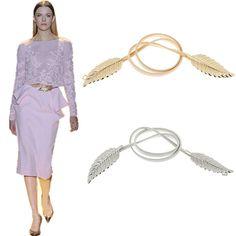 Ladies Vintage Golden Silver Leaf Design Clasp Front Belt