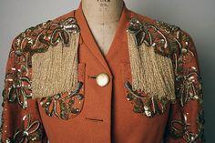 ca 1935 Elsa Schiaparelli evening jacket of wool, plastic, metallic thread, & glass. CB length: 26 in. Elsa Schiaparelli, 1930s Fashion, Vintage Fashion, Salvador Dali, 20th Century Fashion, Italian Fashion Designers, Lesage, Historical Clothing, Vintage Beauty
