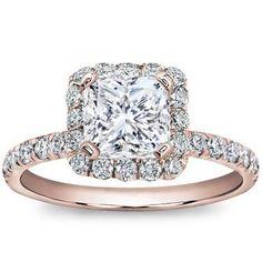 Rose Gold Pave Engagement Ring (Princess cut).