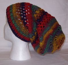 Colorful Hand Crocheted Slouch Hat by Poulsbohemian on Etsy, $55.00