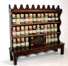 Apothecary Cabinet With Herbs, Dollhouse Miniature 1:12 Scale