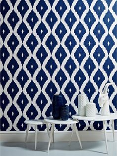 Kelly Hoppen Kelly's Ikat Wallpaper - White and Blue, http://www.very.co.uk/graham-brown-kelly-hoppen-kellys-ikatnbspwallpaper-white-and-blue/1600011606.prd
