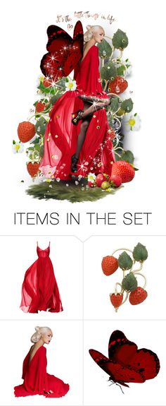 """Strawberry Fairy"" by theeverywheregirl ❤ liked on Polyvore featuring art, red, fairy, strawberry and fruit"