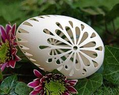 Eggshell of Polish goose - handmade sculpted #95 - transparent easter carved egg ornament decoration unique gift pysanka ażurowa pisanka