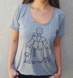 Camiseta São Francisco de Assis cinza mescla - HARUMI