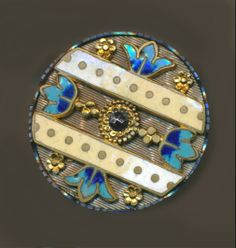 Image Copyright by RC Larner ~ 19th C. Enamel, Brass, and Steel Button ~ R C Larner Buttons at eBay & Etsy        http://stores.ebay.com/RC-LARNER-BUTTONS and https://www.etsy.com/shop/rclarner