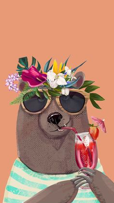 Find images and videos about flowers, wallpaper and bear on We Heart It - the app to get lost in what you love. Wallpaper World, Tier Wallpaper, Animal Wallpaper, Wallpaper Backgrounds, Black Wallpaper, Illustration Art, Illustrations, Bear Art, Cute Drawings