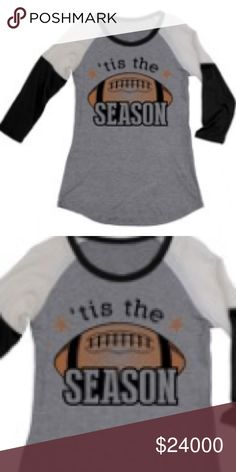 """""""Tis the Season"""" FOOTBALL TEE Gray tee with MUSTARD sleeves. Picture will be updated to show color ASAP. Tops Tees - Long Sleeve"""