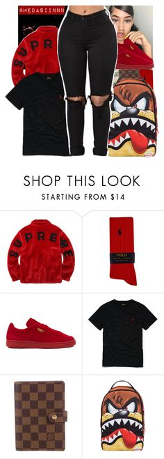 """""""Y'all go follow this Head Crack rtd"""" by medasiinnn ❤ liked on Polyvore featuring Polo Ralph Lauren, Puma, Ralph Lauren, Louis Vuitton and Sprayground"""