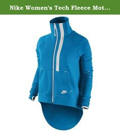 Nike Women's Tech Fleece Moto Cape Jacket-Turquoise/Volt-Medium. Nike Women's Tech Fleece Moto Cape Jacket Item Features: Full-zip mock neck jacket Longer, cape-like back hem Horizontal zipper vent on front left Open side hand pockets Thumbholes for a secure fit Machine wash; Imported Body and Front Lining: 69% Cotton/31% Polyester. Pocket bags: 100% Cotton .