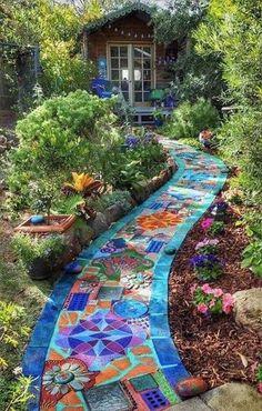 Landscape Edging Stone, Landscape Design, Unique Gardens, Amazing Gardens, Beautiful Gardens, Design Jardin, Path Design, Fence Design, 3d Design