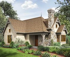 2 Bed Tiny Cottage House Plan Floor Master Suite CAD Available Cottage European PDF Tiny House Architectural Designs Small Cottage Homes, Small Cottages, Cottage House Plans, Small House Plans, Stone Cottage Homes, Guest Cottage Plans, Stone Homes, The Plan, How To Plan