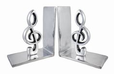Pair of Decorative Polished Aluminum Treble Clef Bookends by Things2Die4, http://www.amazon.com/dp/B009SAPTDQ/ref=cm_sw_r_pi_dp_X1R5rb0ZZZDF6