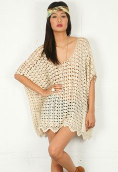 One Teaspoon Canyon Crochet Poncho in Natural