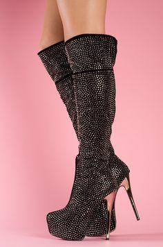 sexy rhinestone studded platform stiletto boots <3