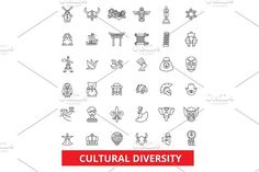 Cultural diversity, international, enthnic, multicultural, tolerance, peace line icons. Editable strokes. Flat design vector illustration symbol concept. Linear signs isolated on white background. Icons